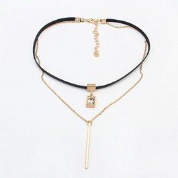 Wholesale Necklace Retro Geometric - Wholesale- New Fashion Retro Geometric&Crystal Pendant Collar Double chains leather simple choker necklace gift for women girl 122906