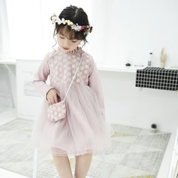 Wholesale Wholesale Floral Cross - Everweekend Girls Flower Tutu Lace Dress with Cross Bags Princess Autumn Winter Party Dress Candy Pink Green Purple Color Dress