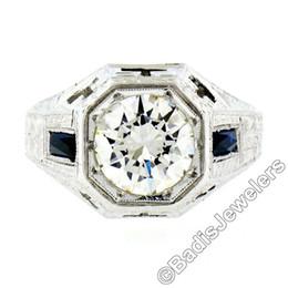 Wholesale Egl Diamond Rings - Men's Antique Art Deco 18K White Gold 1.95ct EGL Diamond Engraved Ring