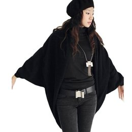 Wholesale Three Quarter Cardigan Coat - Wholesale-Women's Batwing Top Knit Cape Cardigan three quarter sleeve Knitwear Casual Blouse Cardigan Plus Size Autumn Jacket Coat