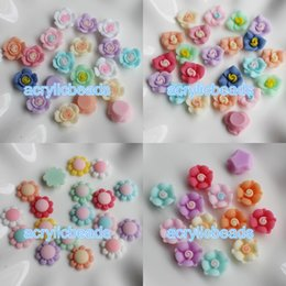 Wholesale Craft Beads Flatback Wholesale - Mix Color Sun Flower Matte Resin Beads Flatback Cabochons DIY Floral Phone Craft Setting no Hole 30pcs