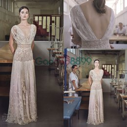 Wholesale Elegant Collections - 2017 Collection Lihi Hod Vintage Wedding Dresses Fashion Lace Embroidery V-neck Cap Sleeve Elegant Country Bohemian Beach Bridal Gowns