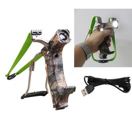 Wholesale Hunting Slingshot Arrow - Camouflage Powerful Rubber USB Charged Flashlight Slingshot Stainless Night Hunting Fishing Slight Shot Clamp Wrist Arrow Rest