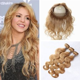 Wholesale Strawberry Blonde Weave - Honey Blonde Brazilian Virgin Hair Bundles With 360 Lace Frontal Closure #27 Strawberry Bonde Body Wave Human Hair Weave With Full Frontals