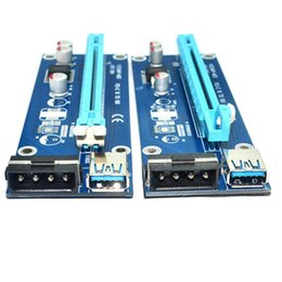 Wholesale Pci Express Port - PCI-E Express Extender Riser Card Adapter 1X to 16X 4 6 Pin Power Cable USB 3.0 Ports Cables Ver006 60cm Ver006S 0406005