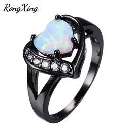 Wholesale Fire Horn - Wholesale- RongXing Cute Heart Rainbow Opal Fire Rings For Women Wedding Fashion Jewelry Vintage Black Gold Filled White Zircon Ring RB0615