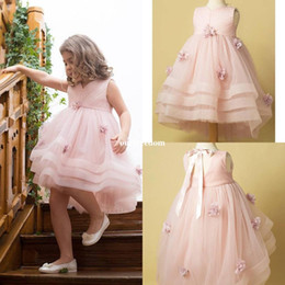Wholesale Girls White Mini Skirt - 2018 Cute Pink 3D Flora Appliques Flower Girls Dresses Jewel Neck Tiered Skirts Short Hi Low Kids Pageant Gown First Communion Dresses