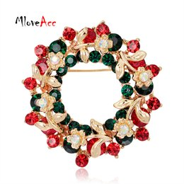 Wholesale- MloveAcc Round Garland Rhinestone Floral Brooches Pins Women  Christmas Gifts for the New Year Fashion Christmas Brooch Jewelry 36f26db143ef