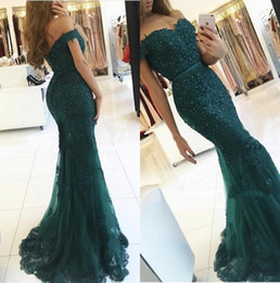 Wholesale Grape Bead Charm - Dark Green Mermaid Evening Dresses 2017 New Full Lace Off the Shoulder Ruffles Tulle Skirt with Beads Charming Prom Party Gowns