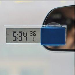 автомобиль с углеродным волокном Скидка Термометр автомобиля электронные часы присоски тип автомобиля цифровые электронные часы с прозрачным жидкокристаллическим дисплеем автомобиля