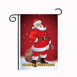 Wholesale Hanging Outdoor Christmas Decorations - Christmas Garden Flags Decoration Xmas Party Home Decor Outdoor Hanging Polyester Flag Decorations banner Decorative Ornament