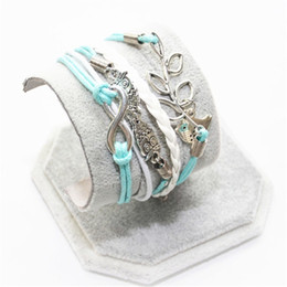 Wholesale Infinity Leaf Charms - Wholesale-SL0184 New Infinity Fashion Leather Owl Tree leaf Charm Handmade Bracelet Bangles Jewelry Wholesale Gift items For Women Girls