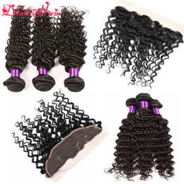 Wholesale Deep Curl Lace Closure - Brazilian Deep Curly Human Hair Bundles With Lace Closure Natural Color Deep Curl Hair Extensions Weaving with frontal lace closure