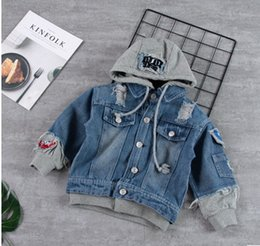 Wholesale Handsome Cartoon - Children handsome coats boys cotton hooded cartoon single breasted pockets loose cowboy outwears 2017 new autumn kids casual clothes C0659