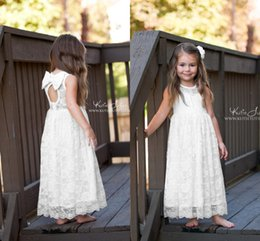 Wholesale Sheath Ivory Flower Girl Dresses - 2017 New Crew Neck Full Lace Flower Girls' Dresses Sheath Open Back With Bow Ankle Length Little Girls Flower Kids Formal Wear Custom Made