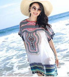 Wholesale Temperament White Korean Blouse - New Arrival Fashion Korean Chiffon Holiday Queen Elegant Loose Temperament Noble Tide Print Tassel Chiffon Beach Sun Clothes Blouse