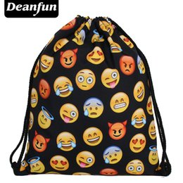 Wholesale Drawstring Backpack Green - Wholesale- Deanfun Women Emoji Backpack 2016 New Fashion Womens Backpacks 3D Printing Bags Drawstring Bag For Men BSKD60