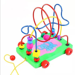Wholesale Wood Elephant Toy - Early Education Multi Wooden Toy Around Beads Wire Maze Children Baby Educational Game in Multi-color push along Cute Elephant kids toy new
