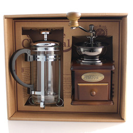 Wholesale Ground Boxes - Free Shipping !Coffee equipment coffee grinder + coffee pressure pot Manual Bean grinding machine Gift Box 1 set