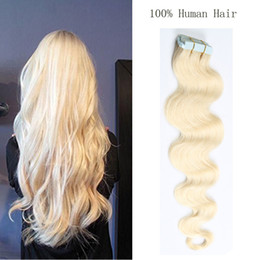Wholesale Multi Color Hair Extensions - 16~24inch Straight Adhesive PU Skin Wefts Tape In Human Hair Extensions PU Tape Hair 20pcs set Multi Colors Freeshipping