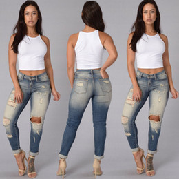 Wholesale Stretch Jeans Wholesale - Wholesale- Women Denim Skinny Ripped Pants High Waist Stretch Jeans Slim Pencil Trousers Fashion Woman Hole Jean Pant