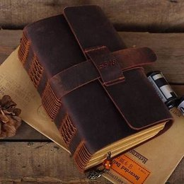 Wholesale Thick Notepad - Wholesale- Blank Diaries Journals notebook note book traveler thick genuine leather size:115mm*165mm* 50mm