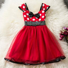 Wholesale Dress Minnie Kids - 017 Hot New Fashion Minnie Cute Lovely Polka Dot Red Sequins Kids Baby Toddler Girls Sleeveless Princess Party Dress Clothes