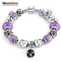Wholesale Antique Enamel Gold Bracelet - LZESHINE Purple Enamel Beads Bracelet Love Heart Charms Bracelets & Bangles Antique Silver Fashion Women Jewelry PCBR0208