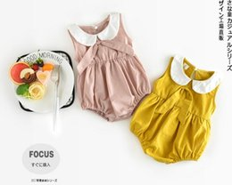Wholesale New Arrival Summer Girls - INS new arrivals summer baby kids climbing romper sleeveless pet pan collar solid color romper girl kids romper kids summer rompers 0-2T