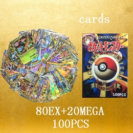 Wholesale Learn English Toys - 100Pcs Set Poke Game Trading Cards Games English Pocket Monsters poke ball Pikachu Cards Flash card For Children Learning Toys JC102