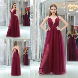 Wholesale Evening Coctail Dress - Sexy Womens Prom Dresses Side Split Open Back Deep V-Neck Evening Gowns Sleeveless Floor Length Spaghetti Straps Coctail Party Dress