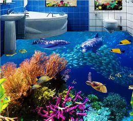 Wholesale Underwater World Print - 3d stereoscopic flooring custom self adhesive wallpaper The underwater world 3d floor murals wallpapers for living room