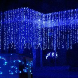 Wholesale White Lamp Post Light - Wholesale- 1000 LED Icicle Curtain Lights String 10*3M LED Curtain Light Waterproof Light Post 1.5 M Lamp String