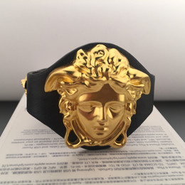 Wholesale Hiphop Leather - Medusa Charm Hiphop Bracelets For Couple Top Quality Hip Hop Leather Bracelet Luxury Party Jewelry Wholesale