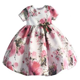 Wholesale girls silk shorts - Girls' Dresses Bow Flora Printed Boat Neck Short Regular Pleated Ball Gown Mid-Calf Princess Summer Toddler Baby Kids Clothing Skirt