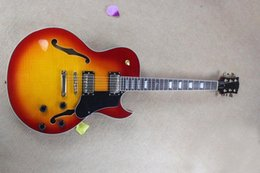 Wholesale Electric Guitars Es - Hot Sale Semi-hollow Cherry Sunburst ES-137 Electric Guitar with Gold Hardwares and Flame Maple Venner and Can be Changed