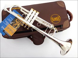 Wholesale Bach Tr - wholesale Professional Bach Trumpet Plate Silver Pipe Body Gold-Plated Key Carved Bb Trumpet Drop Adjustable Trumpet Instrument TR-197GS