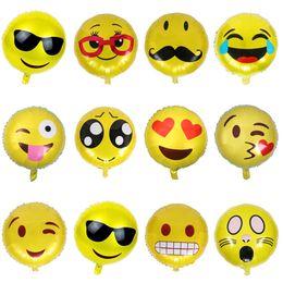 Wholesale Ballons Decorations - Decorations Inflatable Emoji Aluminum Foil Balloons Birthday Party Supplies Helium Balloon Mixorder Emoji Ballons 18 Inch Decoration Ballon