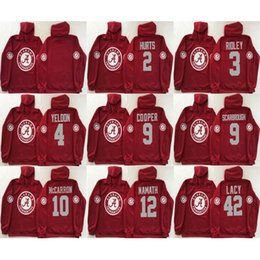 Wholesale Cooper Man - Men hoodie Alabama Crimson Tide Hurts 2 Henry 3 Ridley 4 Yeldon Cooper 9 Scarbrough 10 Mccarron 12 Namath 42 Lacy red college football