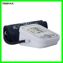 Wholesale 1 PC Upper Arm Blood Pressure Monitors Home Health Care Automatic Monitors wtih LCD Digital Upper Portable Blood Pressure Mesaure Tools