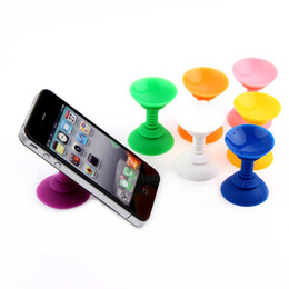 Wholesale Sucker Sides - Wholesale- High quality Silicone Double Sided Suction Cup Holder Sucker Stand car Bracket For Mobile Phones Color Random free shipping