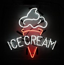 """Wholesale H Sign - ICE CREAM Real Glass Neon Light Sign Home Beer Bar Pub Recreation Room Game Room Windows Garage Wall Sign 17""""w * 14""""h"""