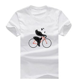Wholesale Bicycle Print Shirt - Panda on a Bicycle New Fashion Man T-Shirt Cotton O Neck Mens Short Sleeve Mens tshirt Male Tops Tees Wholesale