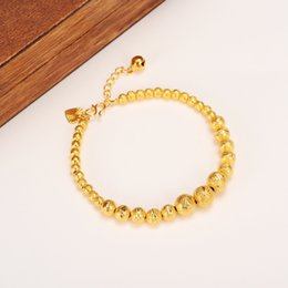 Wholesale Yellow Bangle - 17cm + 4cm Lengthen Ball Bangle Women 14k Real Solid Yellow Gold Round Beads Bracelets Jewelry Hand Chain heart tapestried