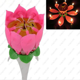Wholesale Wholesale Festive Wreaths - Music candle Birthday Party Wedding Lotus Sparkling Flower Candles light Event Festive Supplies Birthday Party Cake Musical Free shipping