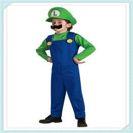 Wholesale Luigi Costume Kids - Wholesale- Free Shipping Hot Sale Kids Super Mario Bros Cosplay Costume Set Children Halloween Party MARIO & LUIGI Costume For Kids gifts