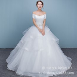 Wholesale Applique Suppliers - hot sale high quality of the shoulder short sleeve Wedding Dress Bridal gown floor length wedding gown factory supplier