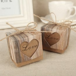 Wholesale Twine Wholesalers - Wholesale-100Pcs 5cm Wedding Bonbonniere Heart in Love Rustic Kraft Bark Candy Boxes with Burlap Chic Vintage Twine Wedding Favor Gift Box
