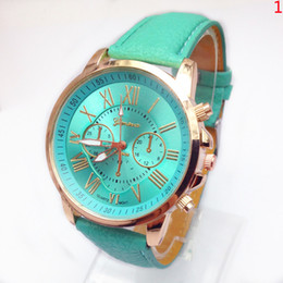 Wholesale unisex geneva silicone - fashion women dress geneva watch women rose gold color Fashion Watch women dress watches leather strap watches