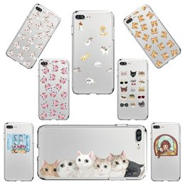 Wholesale Cat Iphone 4s Cases - Phone Case for Apple iPhone 6 6S 6Plus 6s Plus 4 4S 5 5S SE Soft TPU Silicon Clear Cover Cute Cat Mobile Phone Case